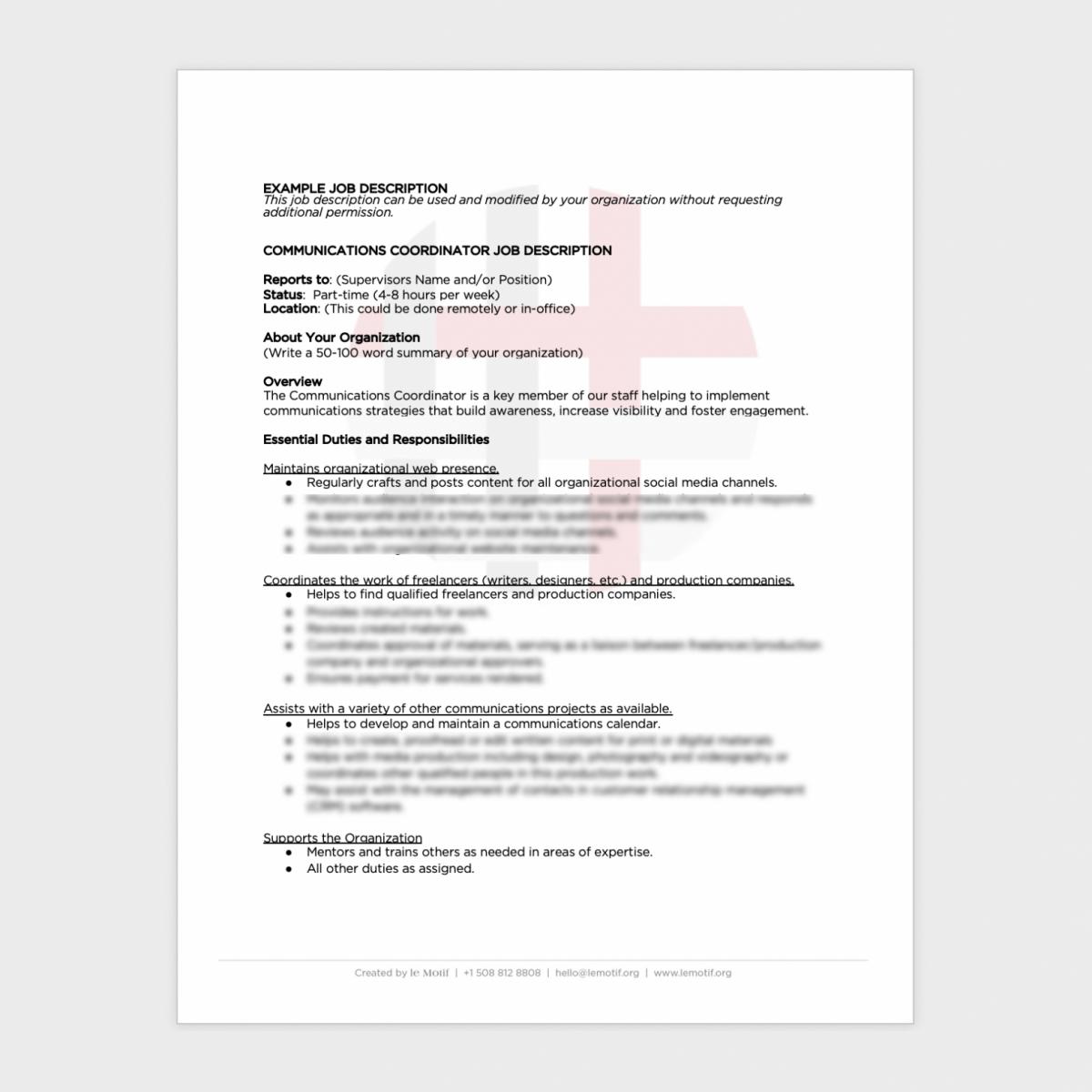Communication Coordinator Job Description
